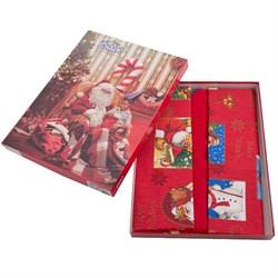 скатерть Санта Клаус красн. с 6 салфетками  - фото 4521