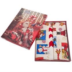 скатерть Санта Клаус беж. с 8 салфетками - фото 4523