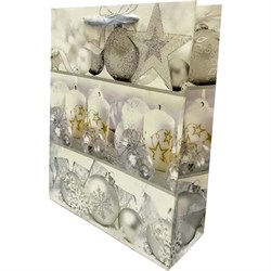 Новогодний пакет 31х40 белый шар - фото 5097