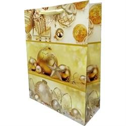 Новогодний пакет 26х32 золотой шар - фото 5099