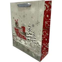 Новогодний пакет 26х32 сани - фото 5105