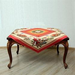 Салфетка на квадратный стол с люрексом  Кристмас red - фото 5532