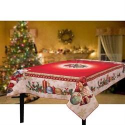 Скатерть новогодняя гобеленовая с люрексом Санта Клаус - фото 5755