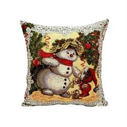 Новогодняя гобеленовая наволочка Снеговик - фото 5780