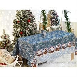 Скатерть новогодняя гобеленовая с люрексом Домик - фото 5805