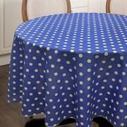 Круглая скатерть Горох на синем
