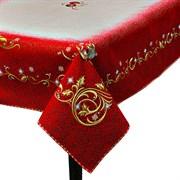 Скатерть Новогодняя гобеленовая с люрексом  Голд red